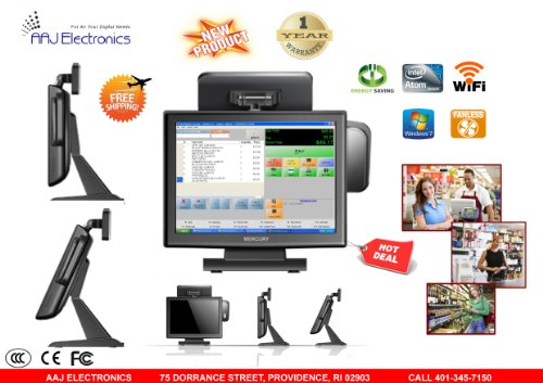 Mercury All In One Touch Screen System fanless 2GB 64GB Windows 7 Pro, Restaurant/ Retail POS (NEW)