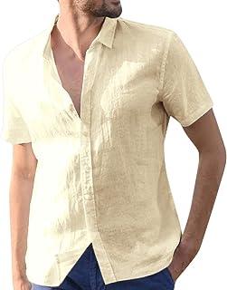 kemilove Mens Short Sleeve Buttons Down Shirt Cotton Linen Beach Yoga Loose Fit Tops