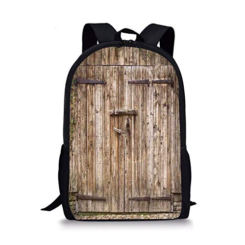 School Bags Rustic,Old Oak Closed Garage Door with Steel Hinges Vintage Typical Cottage Doorway Image,Tortilla for Boys&Girls Mens Sport Daypack ()
