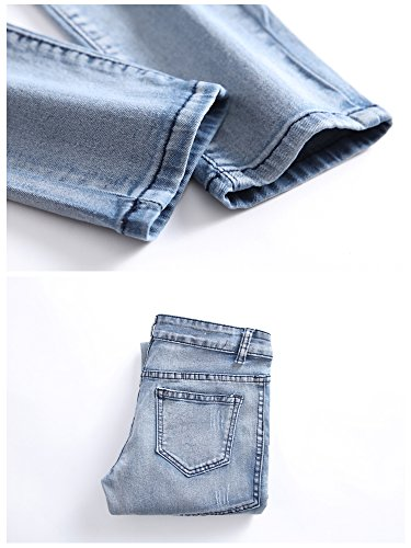Boy's Ripped Skinny Jeans Destroyed Stretch Slim Distressed Pants Light Blue 8 by JeansNiu (Image #6)
