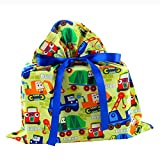 Trucks Reusable Fabric Gift Bag for Birthday or Child's Celebration (Medium 17 Inches Wide by 18 Inches High)