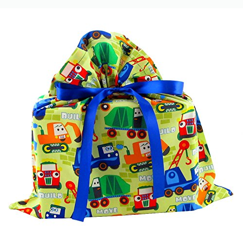 Trucks Reusable Fabric Gift Bag for Birthday or Child's Celebration (Medium 17 Inches Wide by 18 Inches High) by VZWraps