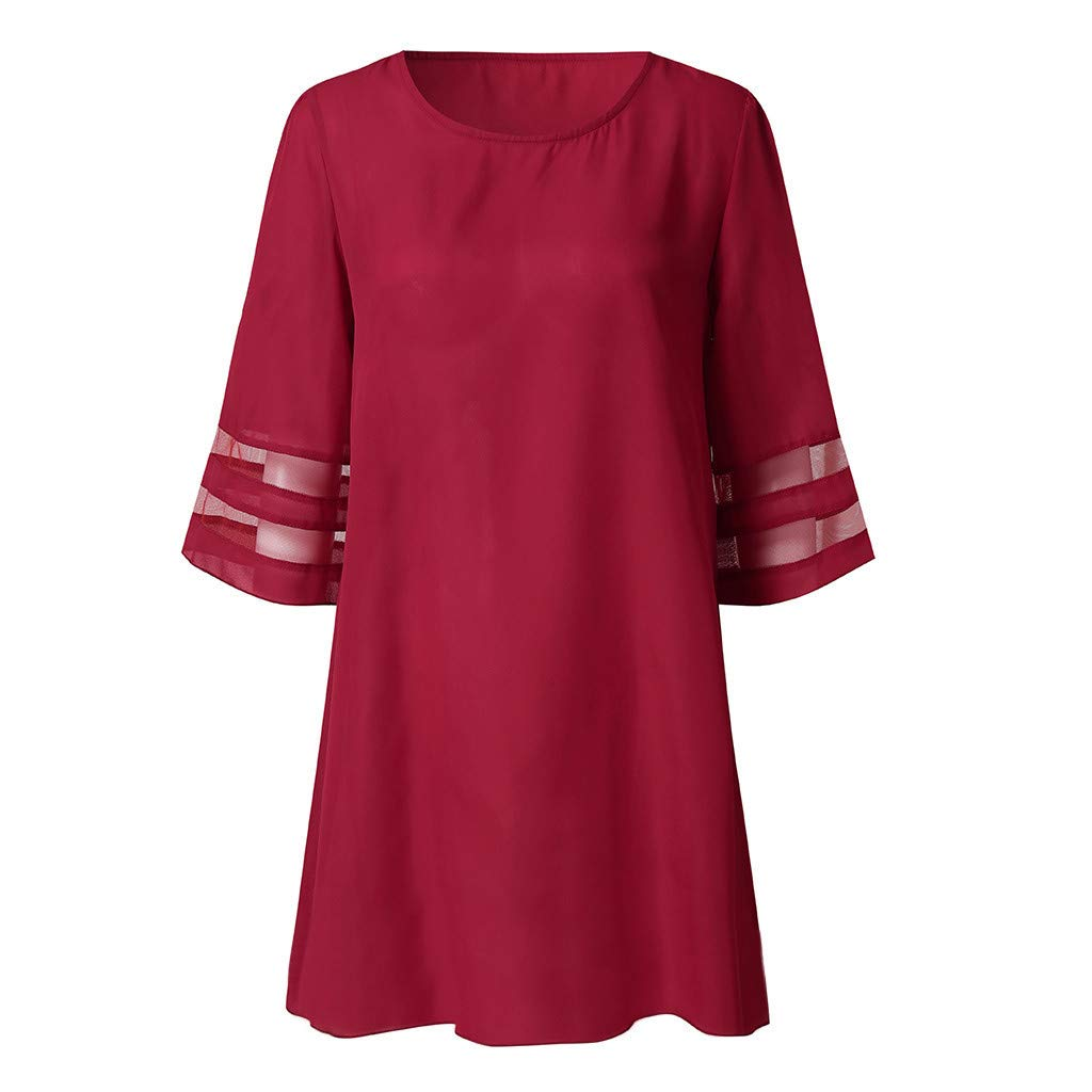 Dresses for Women Party Wedding Hosamtel V Neck Mesh Panel 3//4 Bell Sleeve Elegant Casual Summer Loose Fit Mini Dress