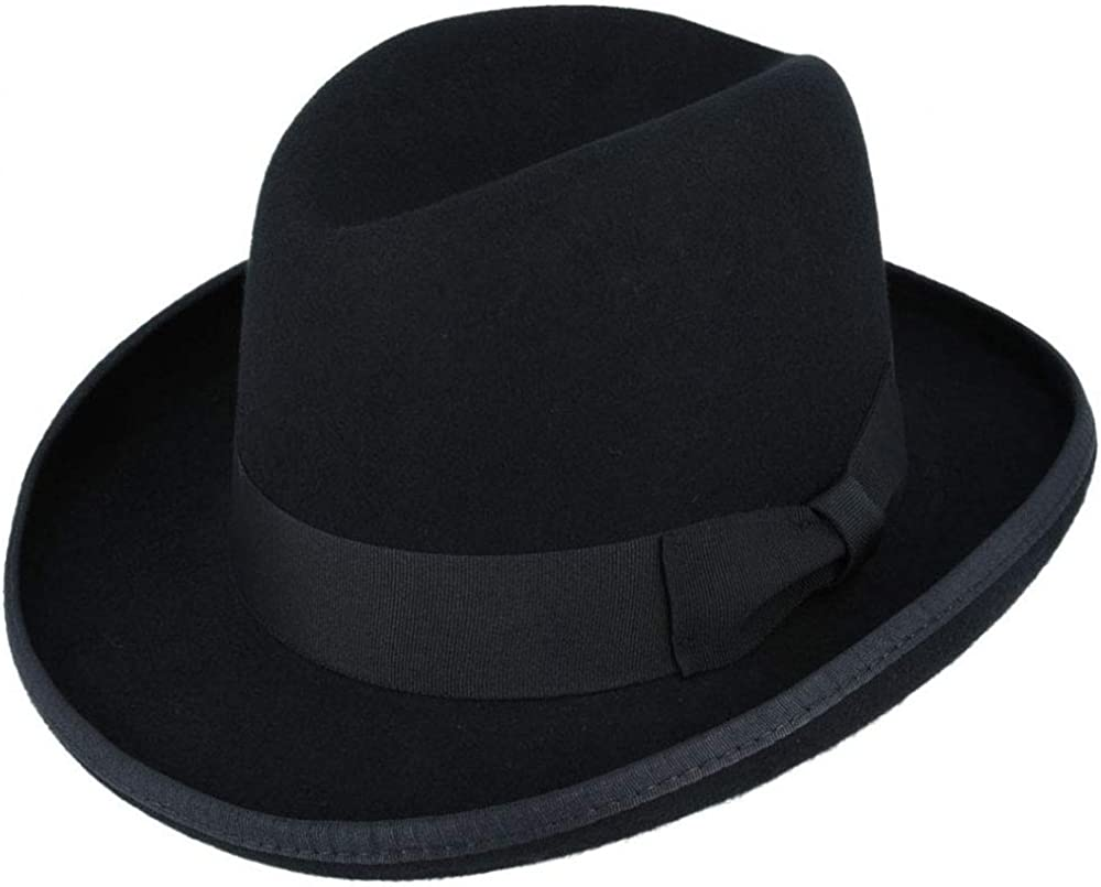 New Edwardian Style Men's Hats 1900-1920 Gladwin Bond Homburg (100% Wool) Hat Satin Lined - Black 4 Sizes £39.95 AT vintagedancer.com