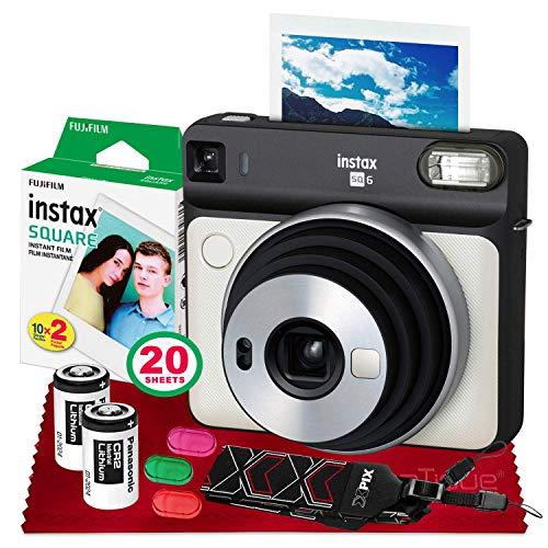 Fujifilm instax Square SQ6 Instant Film Camera (Pearl White) + 20 Sheets Instant Square Film + Xpix Camera Strap + Fibertique Cloth