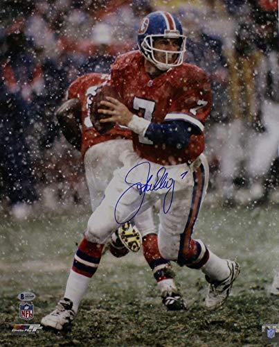 (John Elway Autographed/Signed Denver Broncos 16x20 Photo Snow BAS)