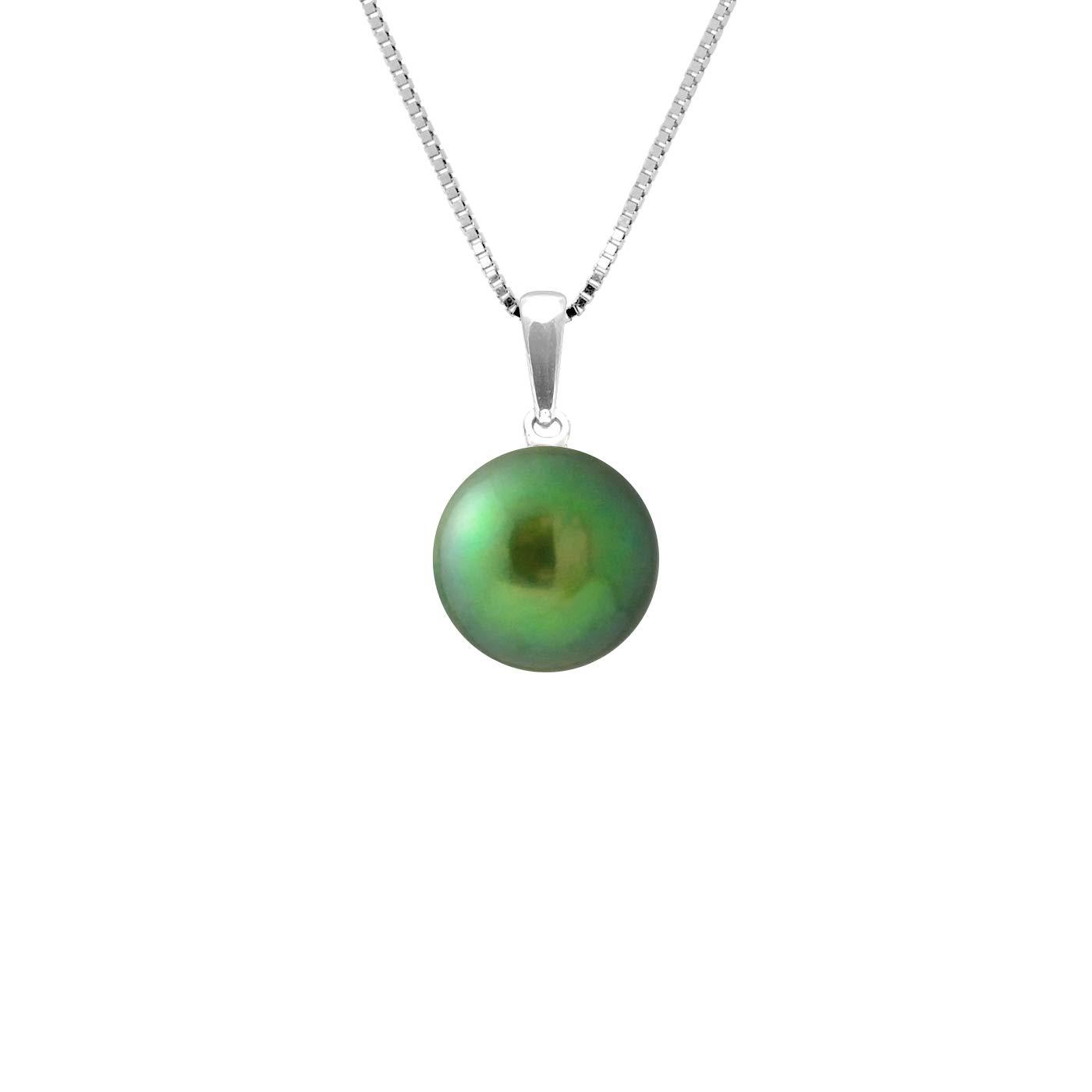 9 carats Or blanc V/éritables Perles deau douce AM18-9CPC-809-1B9B-DVE Pearls /& Colors Pendentif Femme