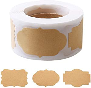 300 Pcs Gift Paper Labels Stickers, Self-Adhesive Jar Labels Handmade Baking Sticker Gift Tags for Cosmetic Handmade Decoration Mason Jars Food Craft, 1.2 2 inch