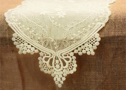 Lace Table Runner in Ivory - 12' Wide x 74' Long