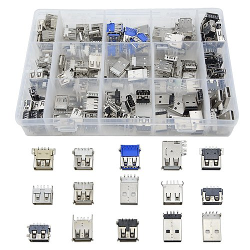 TOVOT 150 PCS USB 2.0 ,3.0 Type A Male Female Plug Connector Jack Socket Connector PBC Mounting Assortment Set (10 Pin Mini Usb Female Socket Connector)