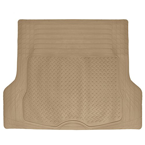 MotorTrend® Heavy Duty Premium Rubber Cargo Mat Trimmable Trunk Liner for Trucks and Sedans Multi Size X-Large (Beige)