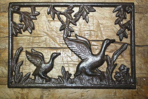 Rustic & Primitive Crafting Supplies was Manufactured to Look Antique Cast Iron Duck Plaque Sign Ducks Home Garden Wall Decor Stepping Stone Inspiration for A Project -