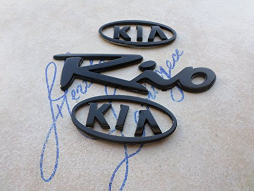 02-05 Kia Rio Front Grille Black Painted Emblem Tailgate Logo Nameplate Decorative Decals Set (Kia Rio Gates)