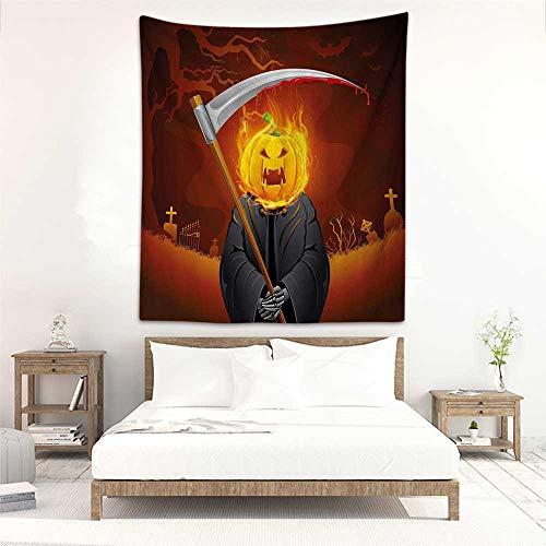 DIY Tapestry Halloween Decorations Pumpkin Grim Head Burning Flames Character Scary Creature Nightmare Stylish Minimalist Fresh Style 57
