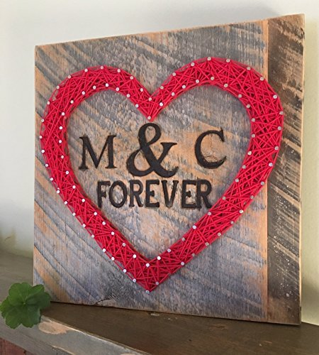 Custom string art heart sign with branded initials, wedding date and forever sign. ORDER BY 2/8/18 for delivery before Valentines Day! Perfect for Valentine's Day, anniversaries and Weddings - Good Date Ideas Valentines Day