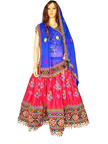 (Nanda Women Rayon Gujarat Handmade Lehenga-Kutch Embroidered Ghagra-Gujarati Chaniya Choli-Navratri Ras Garba Costume Original Mirror Work Dress Peach Free Size)