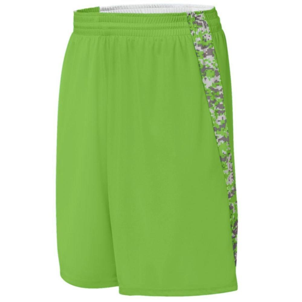 Augusta Activewear Hook Shot Reversible Short, Lime/Lime Digi, XXX Large by Augusta Activewear