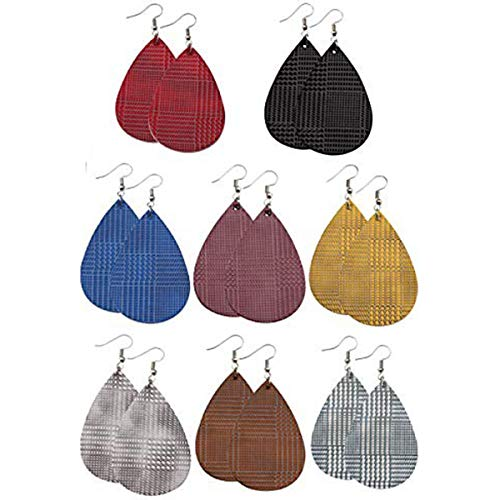 Teardrop Leather Earrings for Women Lightweight Leather Dangle Earrings for Girls Bump Texture Three-dimensional Designed 8 Pairs