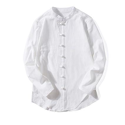 Review kaifongfu Men's Shirt,Men Solid Color Round Stitching Button Cotton and Linen T-Shirt