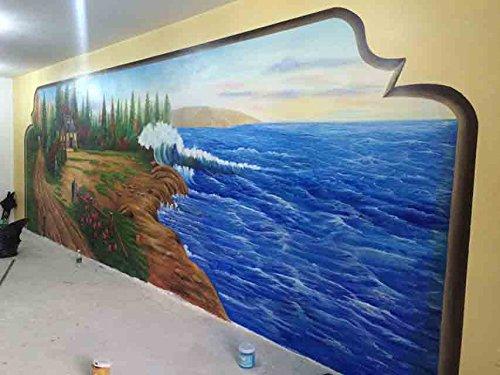 Amazoncom Coastal Living Room Mural Hand painted Wall Mural on