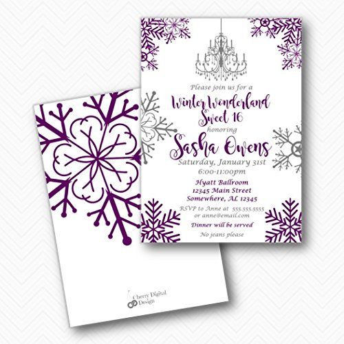 Winter Wonderland Sweet 16 Sixteen Birthday Party Invitations | Envelopes Included for $<!--$34.99-->