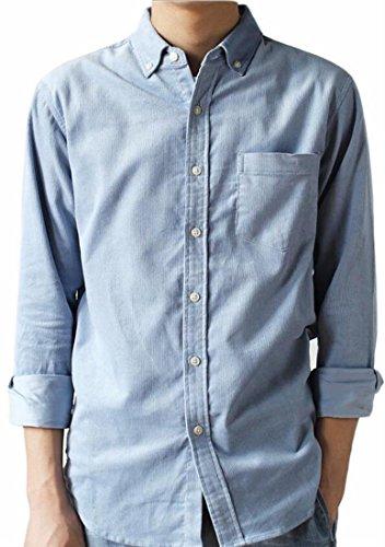 Jaycargogo Mens Casual Corduroy Long-Sleeved Shirt With Pockets Light Blue M Corduroy Long Sleeved Shirt