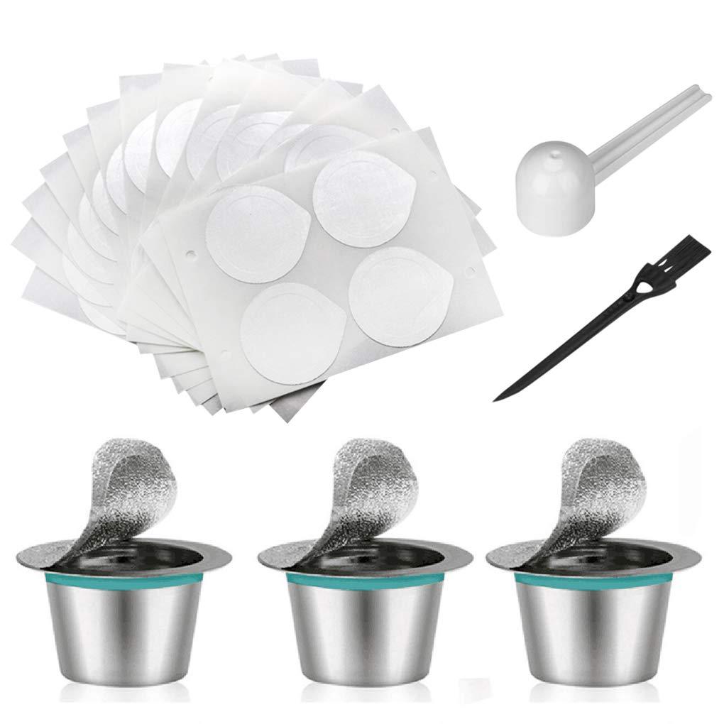 Rolin Roly 3 Piezas Capsula Recargable Nespresso Acero Inoxidable Cápsulas de Café Reutilizables con 60 Piezas Tapas de Papel de Aluminio ...