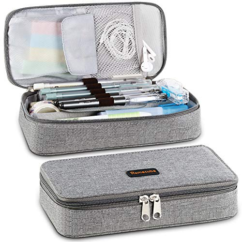 Homecube Pencil Case Big Capacity Storage Oxford Cloth Bag Holder Desk Pen Pencil Marker Stationery Organizer Pencil Pouch with Zipper for School & Office - 8.74x4.3x2.17 inches - Gray (Lined Case Shell Soft)