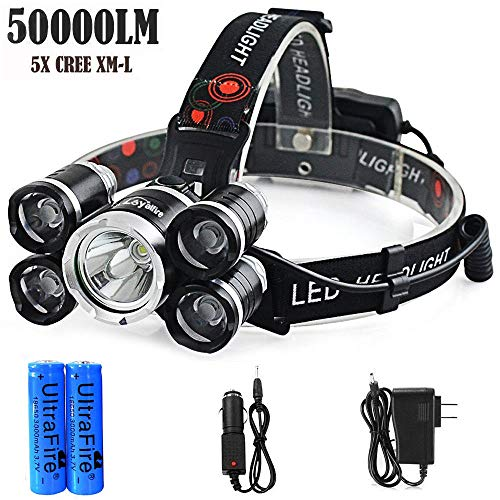 Headlamp 50000LM LED XM-L T6 4 mode Headlight Flashlight head Torch + 2x battery by Mont Pele (Image #1)