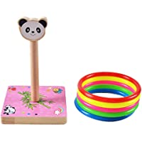 FunBlast Animal Ring Toss Game, Indoor/Outdoor Family Fun Wooden Zoo Animal Targets Age Learning Activity for Boys and Girls