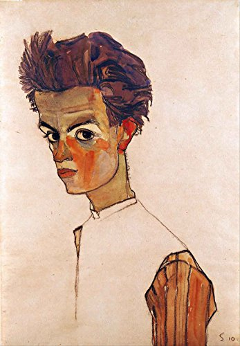 The Museum Outlet - Egon Schiele - Self portrait with striped shirt, Stretched Canvas Gallery Wrapped. 11.7x16.5