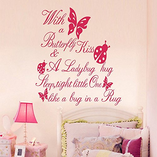 Amiley Wall Stickers ,Butterfly Kiss Ladybug Hug Quote Wall Sticker Art Vinyl Decal 2017 hot sale ()