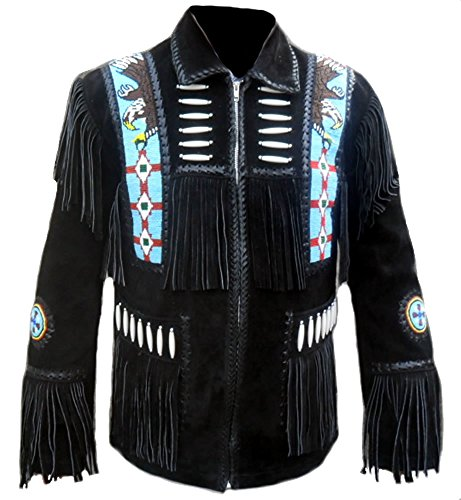Sleekhides Men's Indian Cowboy Suede Leather Jacket Fring...