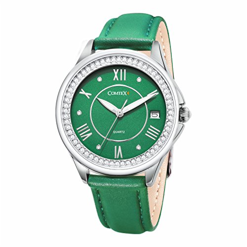 COMTEX Women's Analog Quartz White/Pink/Green Leather Band Wrist Watch with Date and Waterproof Feature … (Bright Green) -
