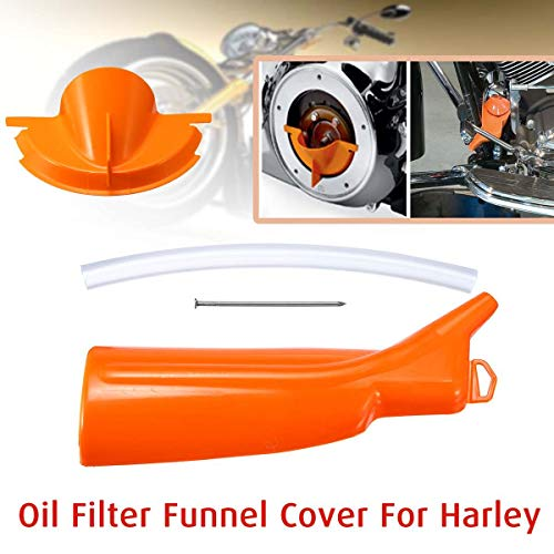 (Oil Filter Funnel Cover Primary Case Oil Fill Funnel for Harley Touring Sportster Softail Dyna Models Moto (001+002 Orange) )