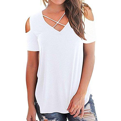 CUCUHAM Women Off Shoulder Short Sleeve T-Shirts Tops Casual Criss Cross Shirts (S, White)