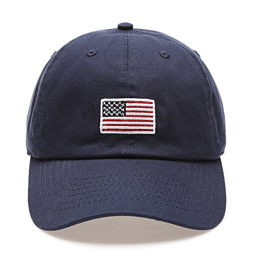 USA American Flag Embroidered 100% Cotton Low Profile Adjustable Strap Baseball Cap Hat (Navy) (Patch Flag American Cool)