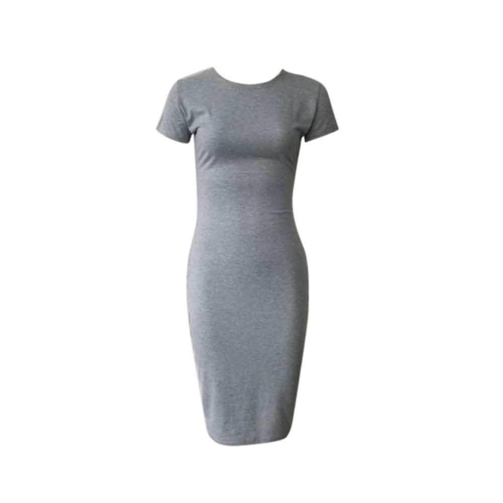 TWIFER Damen Mode Solid Kurzarm Dünnes Kleid Bodycon Midikleid