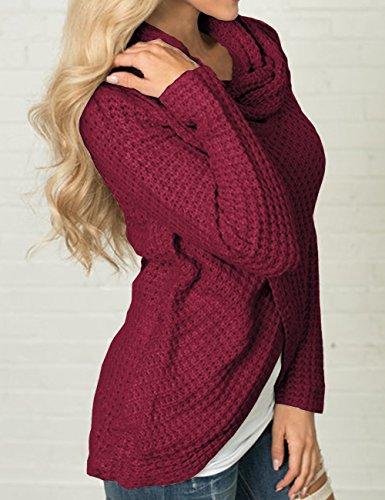 Spring Cross Rosso maglione Winter maniche Back Vino lunghe Batwing Allentato Casual HAHAEMMA Ladies Sexy Sweater Pullover Bat Knit qRxwvBf4t