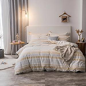 Merryfeel 100% Cotton Woven Seersucker Stripe Duvet Cover Set - Full/Queen