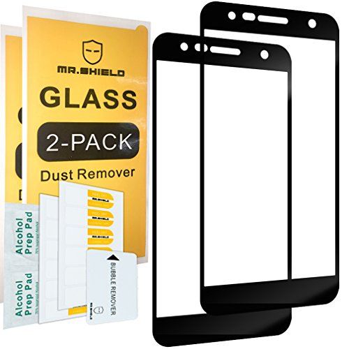 [2-PACK]-Mr Shield For LGFiesta2 [Tempered Glass] [Full Cover] [Black] Screen Protector with Lifetime Replacement Warranty