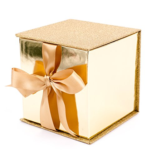 Hallmark Signature 4quot Small Gift Box with Paper Fill Gold Glitter for Valentines Day Weddings Engagements Graduations Holidays and More