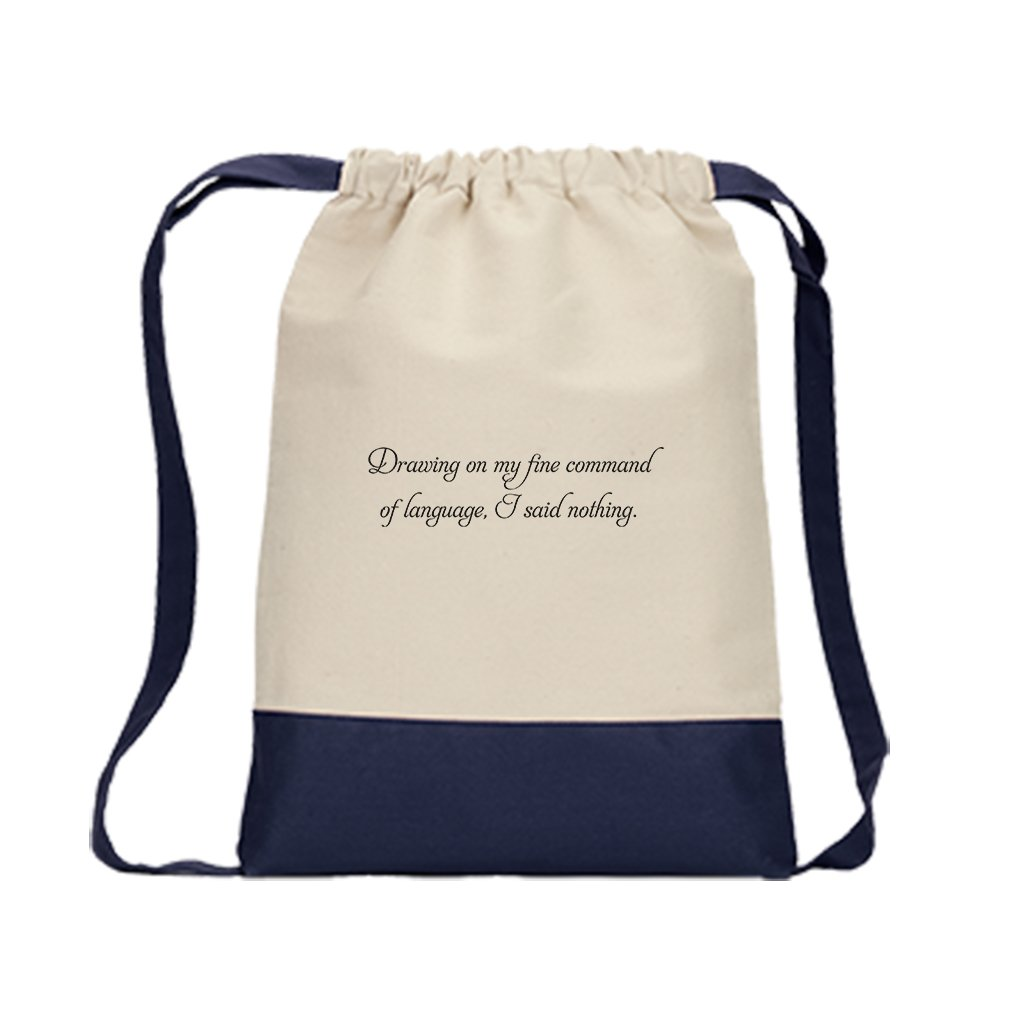 Drawstring Bag Canvas Drawing On My Fine Command Of Language Style In Print Navy