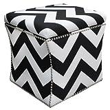 Skyline Furniture Nail Button Storage Ottoman, Zig Zag Black-White