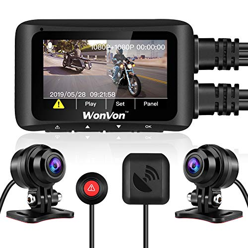 "WonVon MT1 Motorcycle Dash Cam 1080P 2.7"" LCD Motorcycle Recording Camera Dual Lens Front and Rear Camera Built-in WiFi, with GPS Module, Night Vision, G-Sensor, Loop Recording, Support 256GB max"
