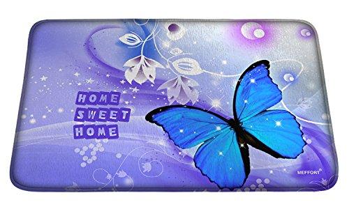 (Meffort Inc Printed Soft Floor Door Mat Carpet/Area Entry Rugs for Kitchen Dining Living Hallway Bathroom - Blue Purple Butterfly)