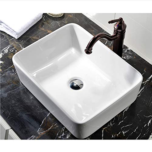 VCCUCINE Rectangle Above Counter Porcelain Ceramic Bathroom Vessel Vanity Sink Art Basin (White Bathroom Vessel Sink)