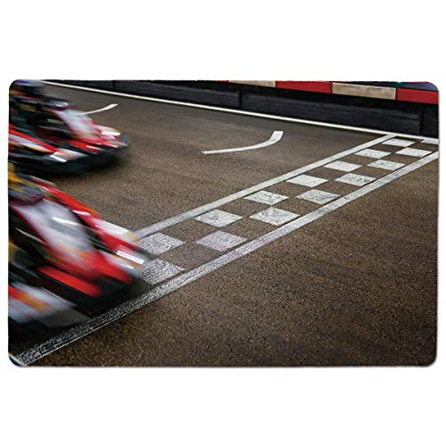 (SCOCICI Gaming Speed Version Medium Cloth Mouse Mat Crossing Finish Line Motor Racing Track Recreational Pursuit Success Victory Dec Mousepad for Home and Office Not Fad Locking Edge)