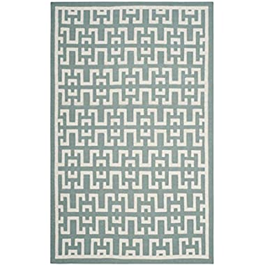 Safavieh Dhurries Collection DHU621A Hand Woven Seafoam and Ivory Premium Wool Area Rug (4' x 6')