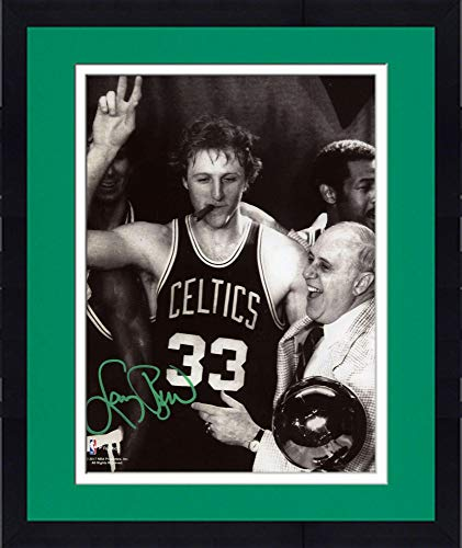 Framed Larry Bird Boston Celtics Autographed 8'' x 10'' Celebration with Auerbach Photograph with Green Ink - Fanatics Authentic Certified